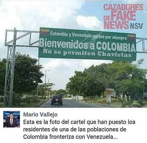 """FALSO: """"Bienvenidos a Colombia, no se permiten chavistas"""""""